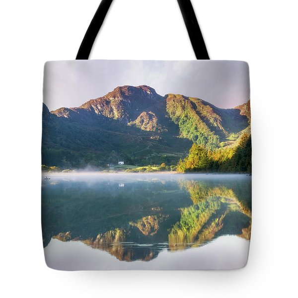 Misty Dawn Lake Tote Bag by Ian Mitchell