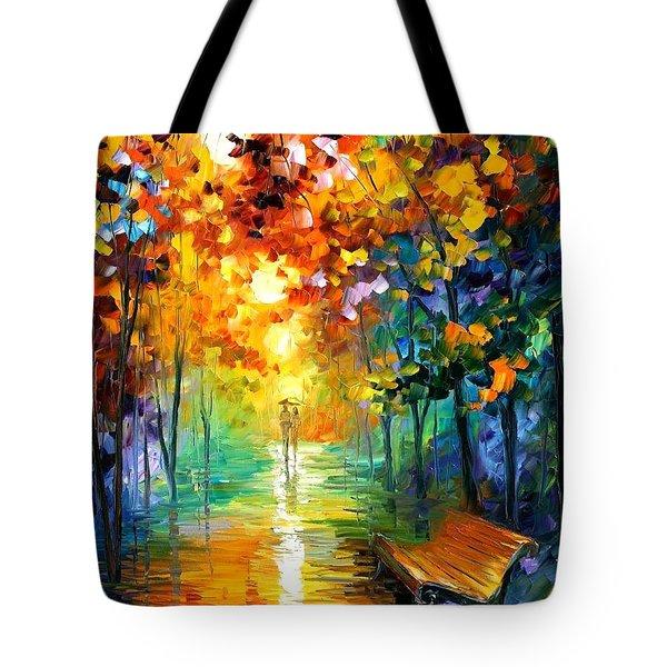 Misty Park Tote Bag by Leonid Afremov