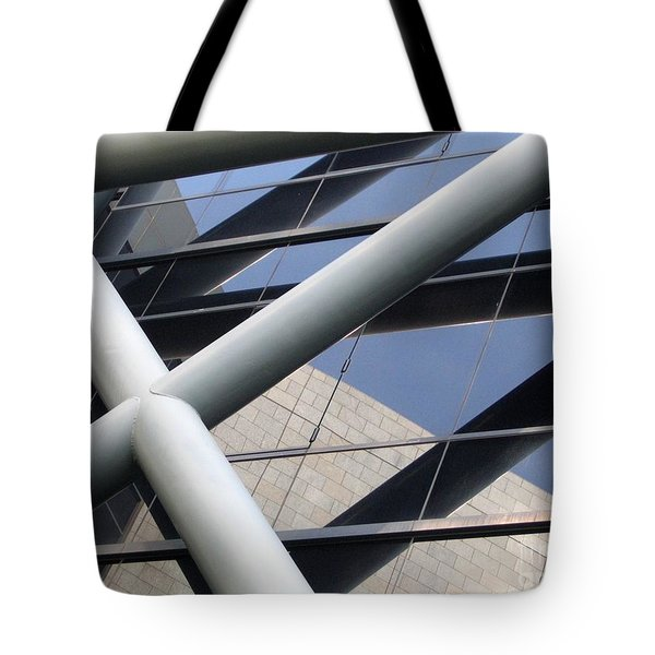 Tote Bag featuring the photograph Modern Building Facade With Reflection by Yali Shi