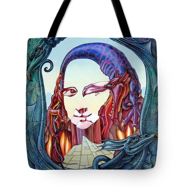 Mona Lisa. Fire Tote Bag
