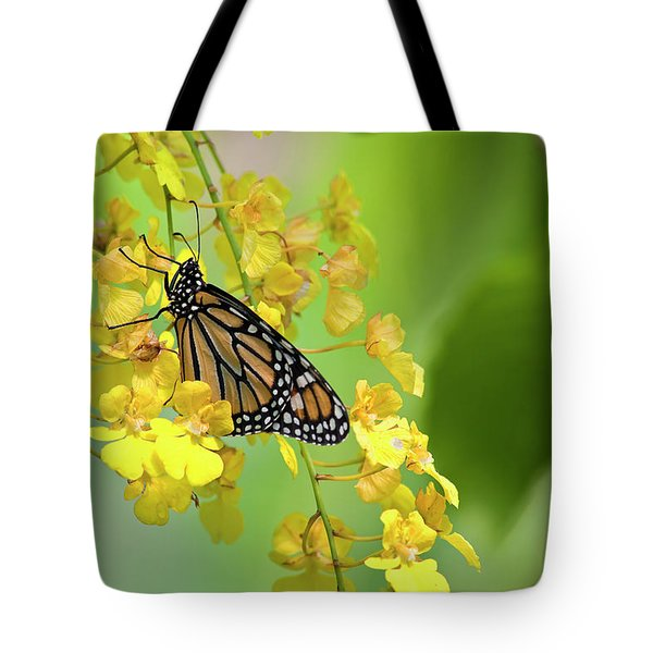 Monarch Butterfly On Yellow Orchids Tote Bag