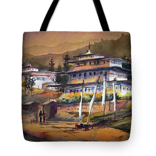 Tote Bag featuring the painting Monastery In Himalaya Mountain by Samiran Sarkstery in Himalaya Mountainar