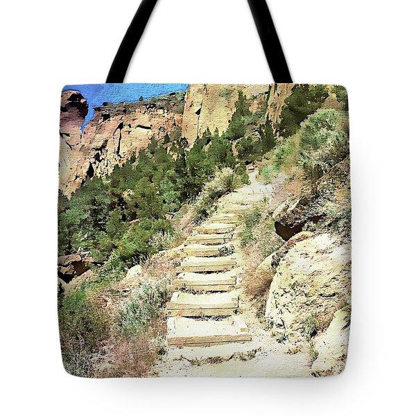 Tote Bag featuring the digital art Monkey Face Rock - Smith Rock National Park, Oregon by Joseph Hendrix