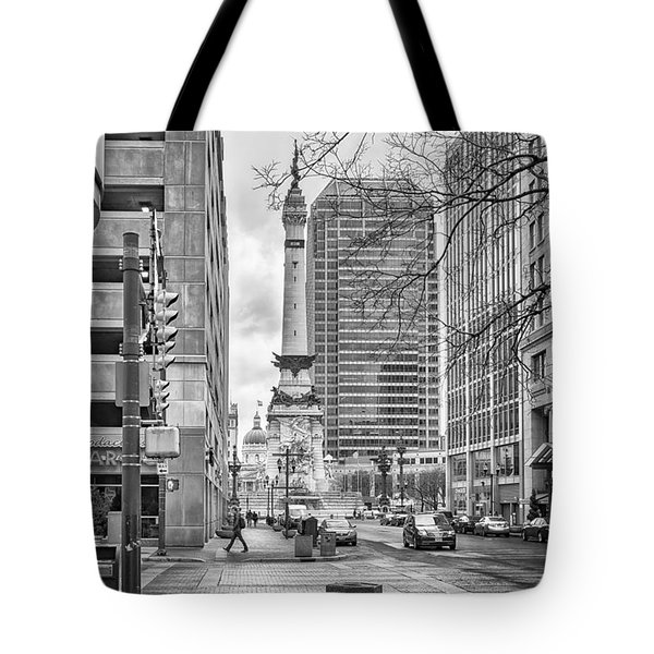 Tote Bag featuring the photograph Monument Circle by Howard Salmon
