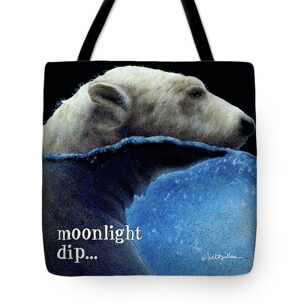 Tote Bag featuring the painting Moonlight Dip... by Will Bullas