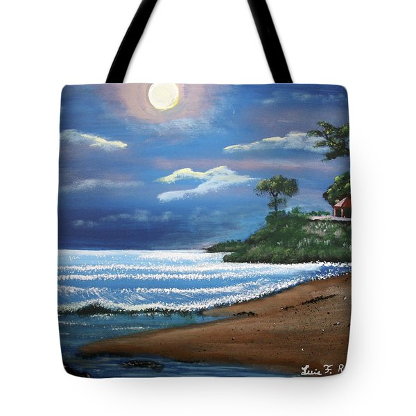 Moonlight In Rincon II Tote Bag by Luis F Rodriguez