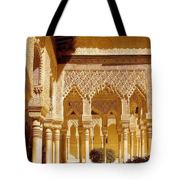 Moorish Architecture In The Nasrid Palaces At The Alhambra Granada Tote Bag by Mal Bray