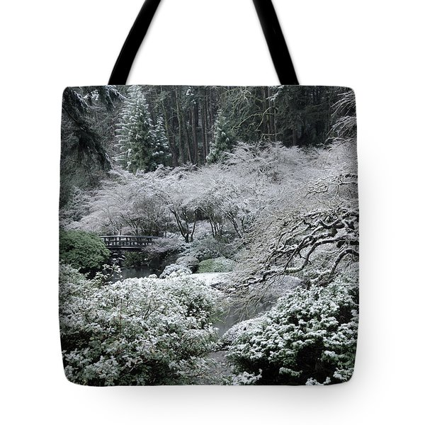 Morning Snow In The Garden Tote Bag