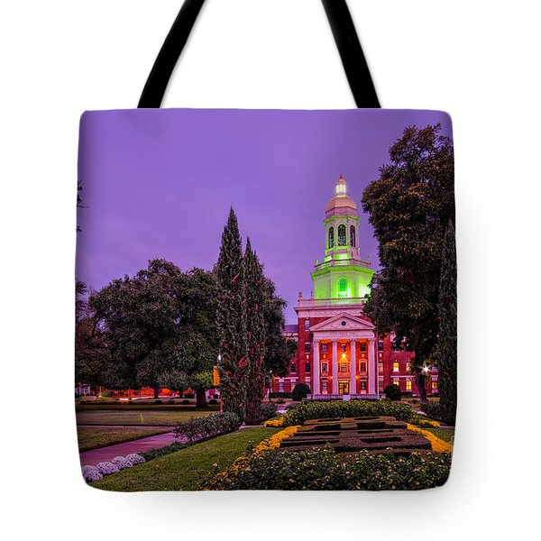 Morning Twilight Shot Of Pat Neff Hall From Founders Mall At Baylor University - Waco Central Texas Tote Bag