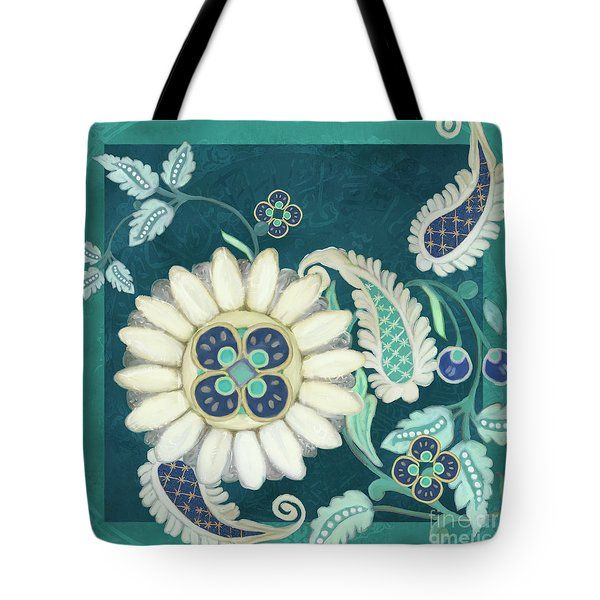 Tote Bag featuring the painting Moroccan Paisley Peacock Blue 1 by Audrey Jeanne Roberts