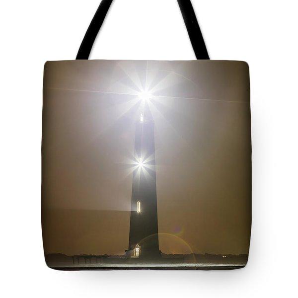Morris Island Light House 140 Year Anniversary Lighting Tote Bag