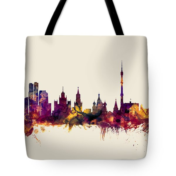 Moscow Russia Skyline Tote Bag by Michael Tompsett