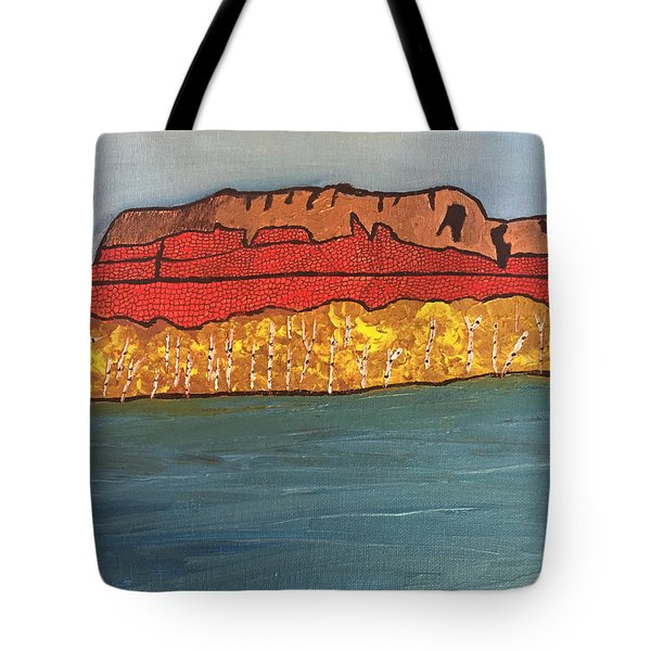 Tote Bag featuring the painting Mount Mckay by Paula Brown