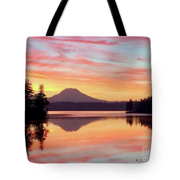 Mount Rainier Dawn Tote Bag
