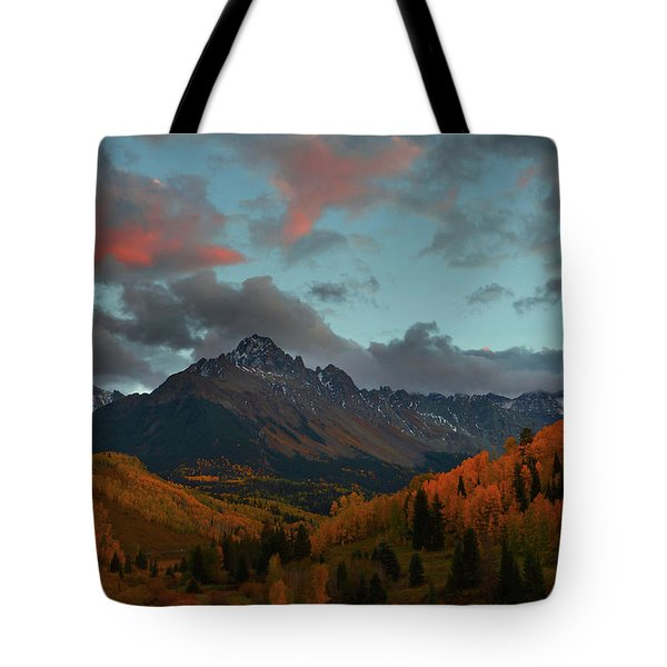 Mount Sneffels Sunset During Autumn In Colorado Tote Bag