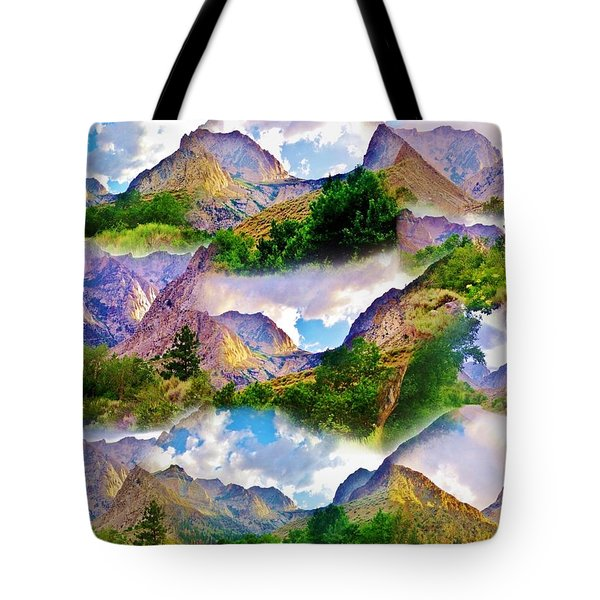 Mountain Collage Tote Bag