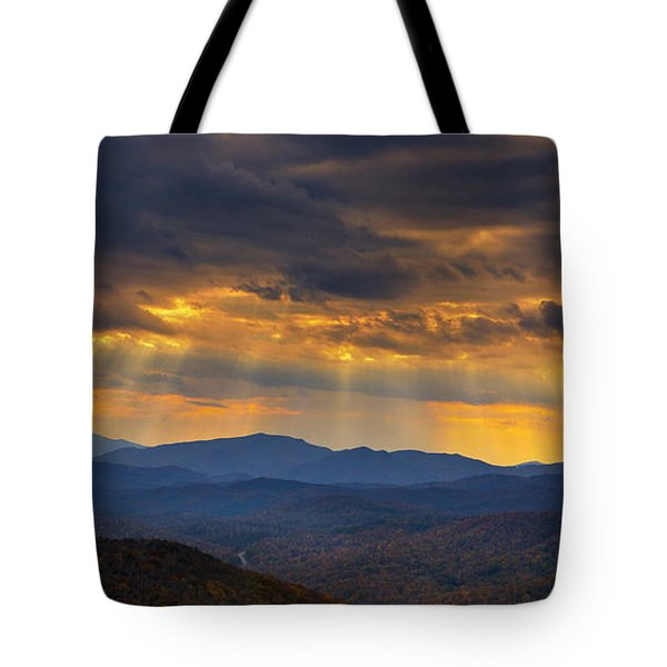 Tote Bag featuring the photograph Mountain God Rays by Ken Barrett