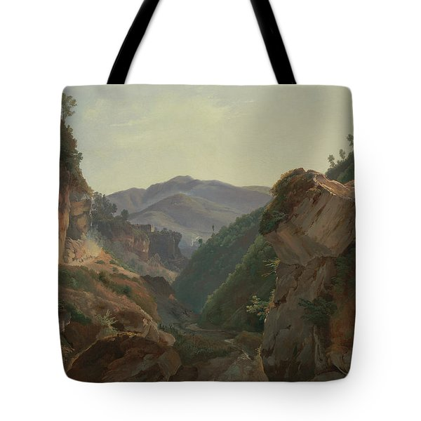 Mountain Landscape With Road To Naples Tote Bag