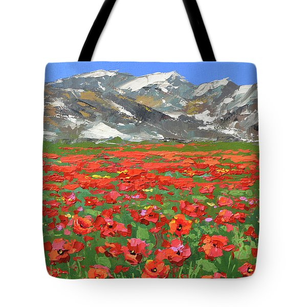 Tote Bag featuring the painting Mountain Poppies  by Dmitry Spiros