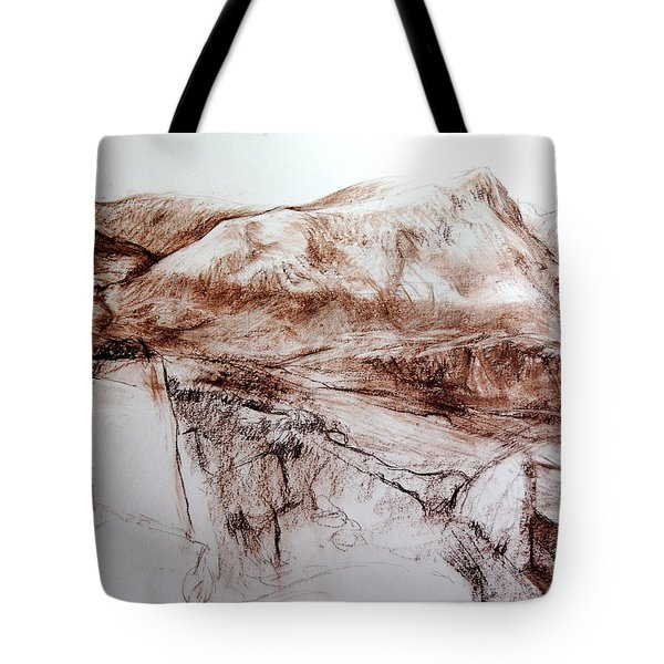 Tote Bag featuring the drawing Mountains In Snowdonia by Harry Robertson