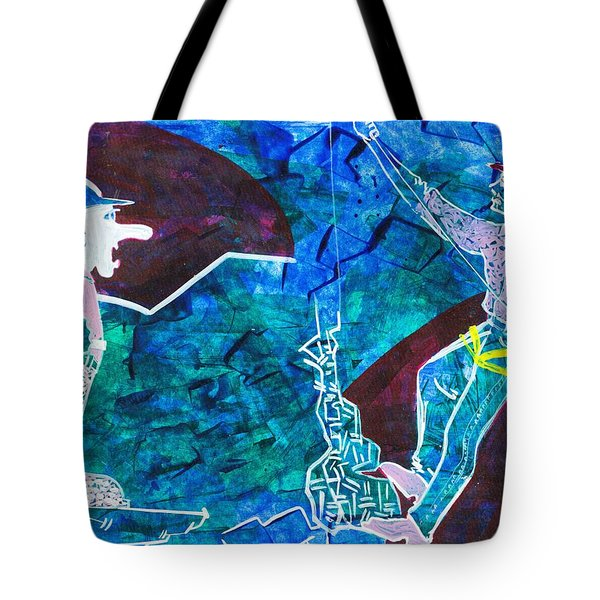 Mounteneers With Blue Textured Back Ground Tote Bag by Makarand Joshi