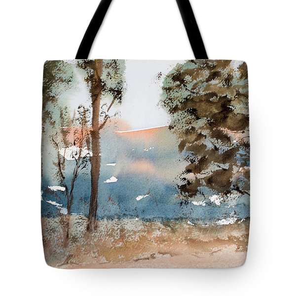 Mt Field Gum Tree Silhouettes Against Salmon Coloured Mountains Tote Bag