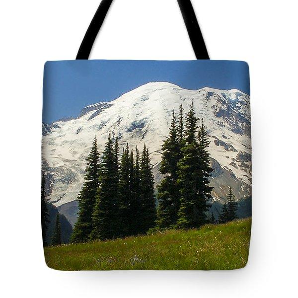 Mt. Rainier Alpine Meadow Tote Bag by Chuck Flewelling