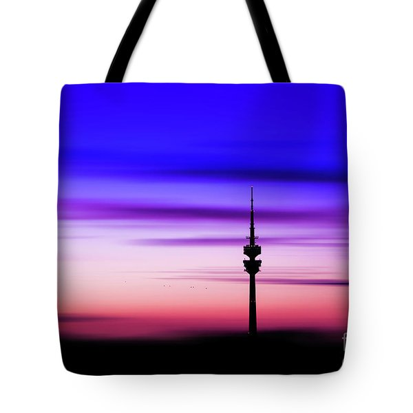 Tote Bag featuring the photograph Munich - Olympiaturm At Sunset by Hannes Cmarits