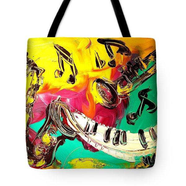 Music Jazz Tote Bag by Mark Kazav