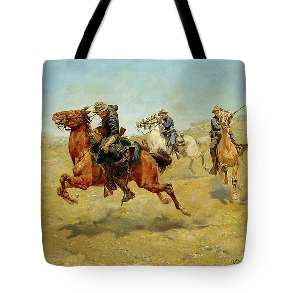 Tote Bag featuring the painting My Bunkie by Charles Schreyvogel