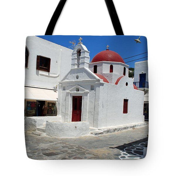 Mykonos Red Chapel Tote Bag