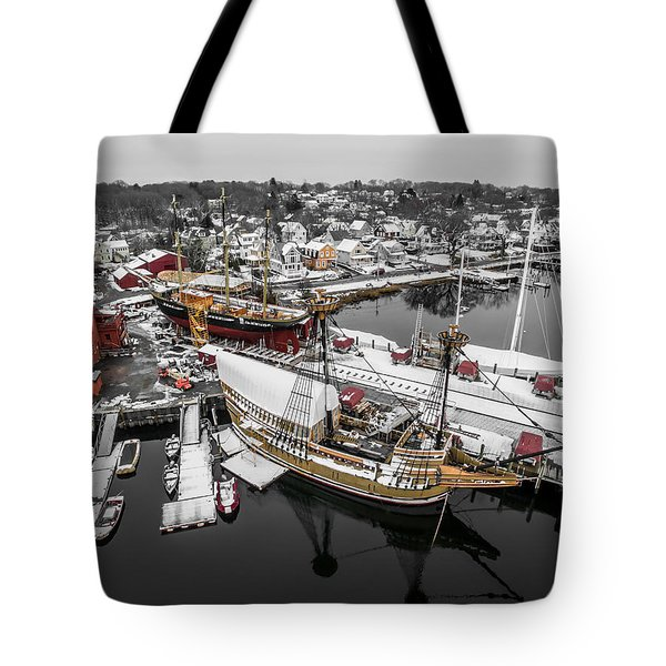 Mystic Seaport In Winter Tote Bag by Petr Hejl
