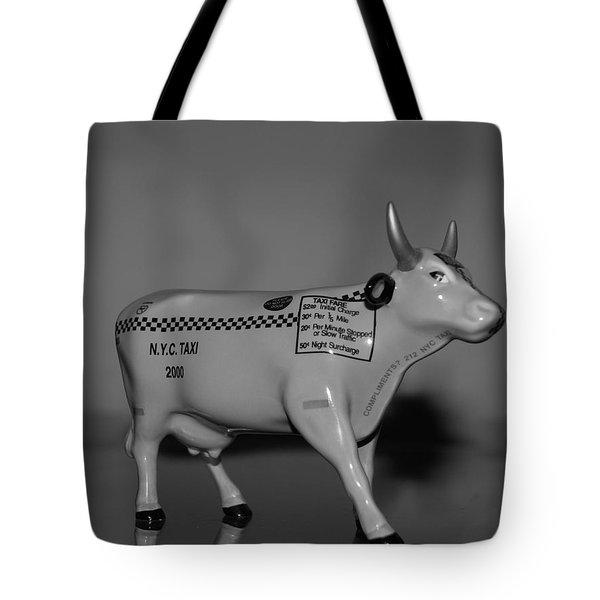 N Y C Taxi Cow Tote Bag by Rob Hans