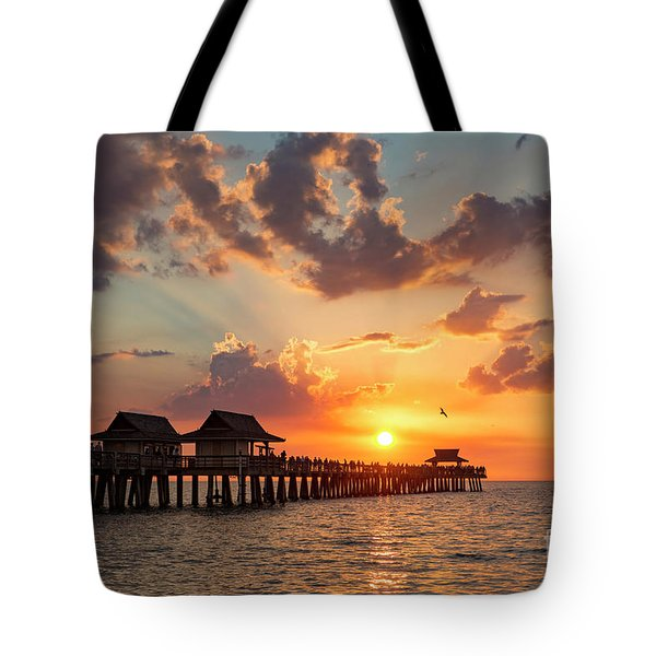 Tote Bag featuring the photograph Naples Pier At Sunset by Brian Jannsen