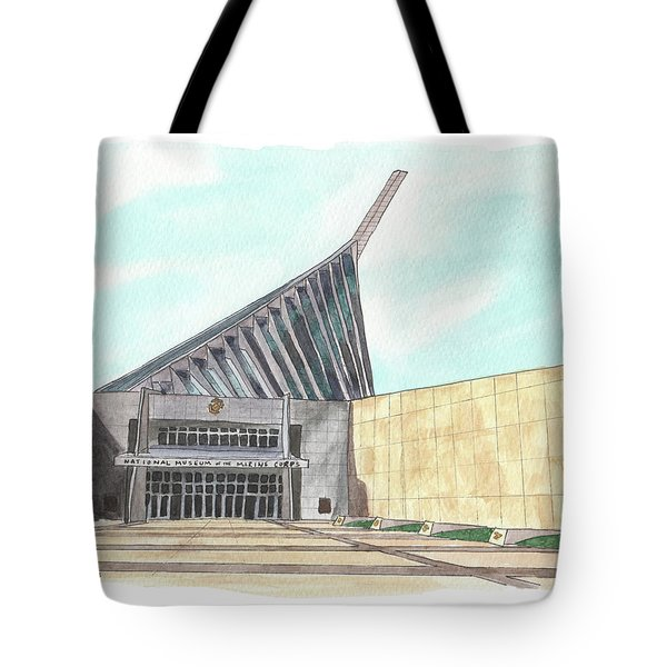 Tote Bag featuring the painting National Museum Of The Marine Corps by Betsy Hackett