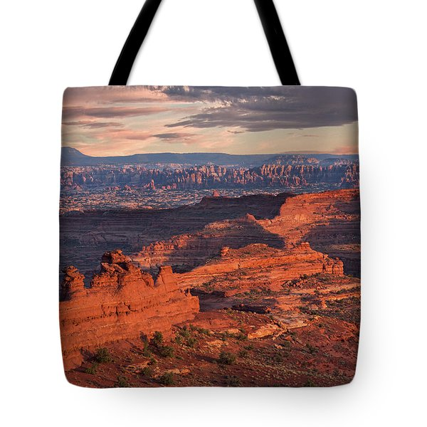 Needles Sunset From White Crack Tote Bag