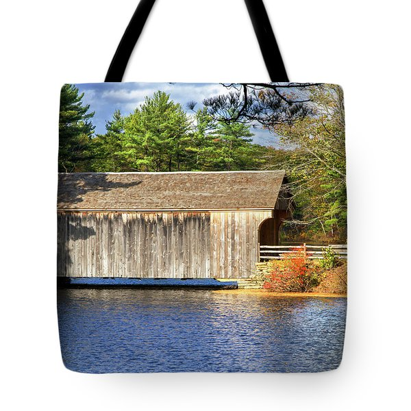 New England Covered Bridge Tote Bag