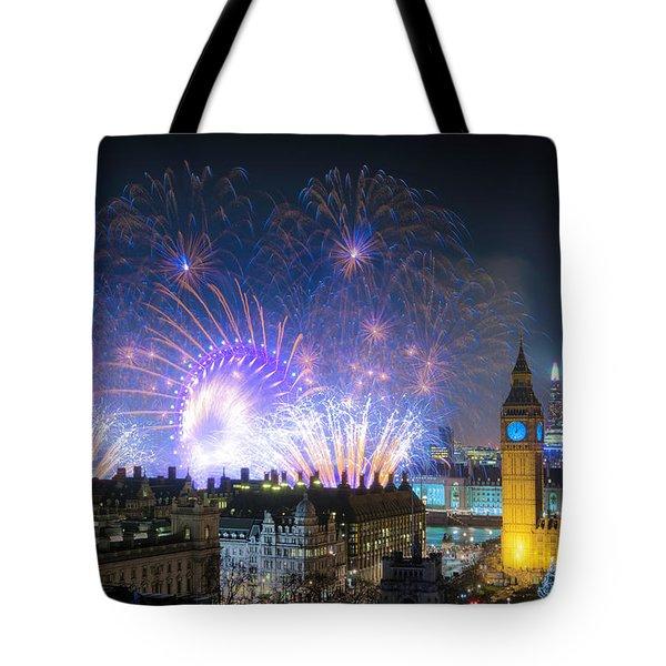 New Year Fireworks Tote Bag