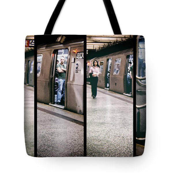 Tote Bag featuring the photograph New York City Subway Stare by Lars Lentz