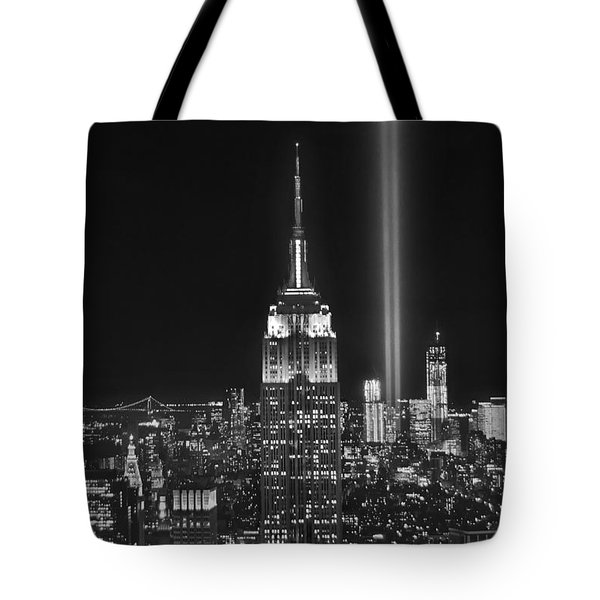New York City Tribute In Lights Empire State Building Manhattan At Night Nyc Tote Bag by Jon Holiday