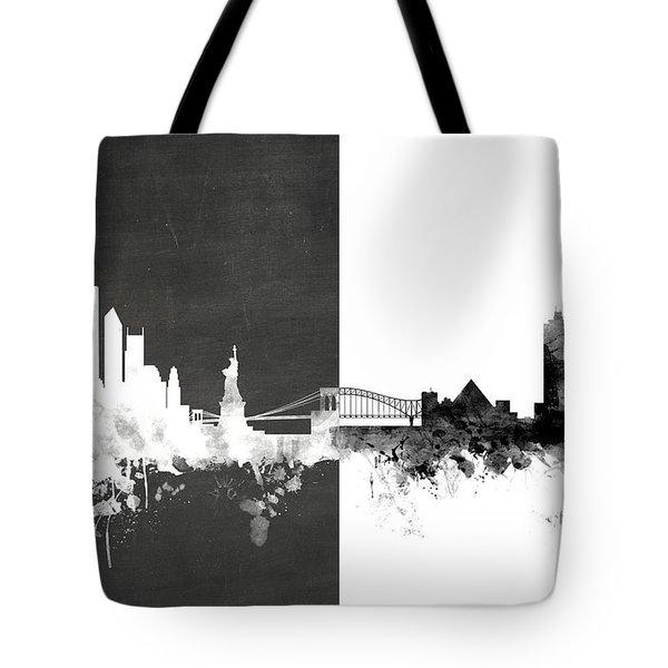 New York Memphis Skyline Mashup Tote Bag