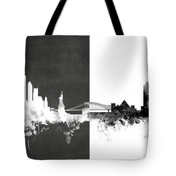 New York Memphis Skyline Mashup Tote Bag