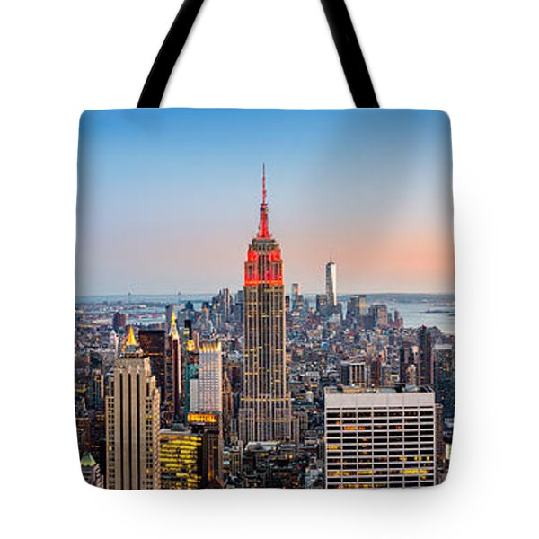 Tote Bag featuring the photograph New York Skyline Panorama by Mihai Andritoiu