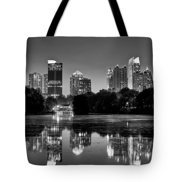 Night Atlanta.piedmont Park Lake. Tote Bag