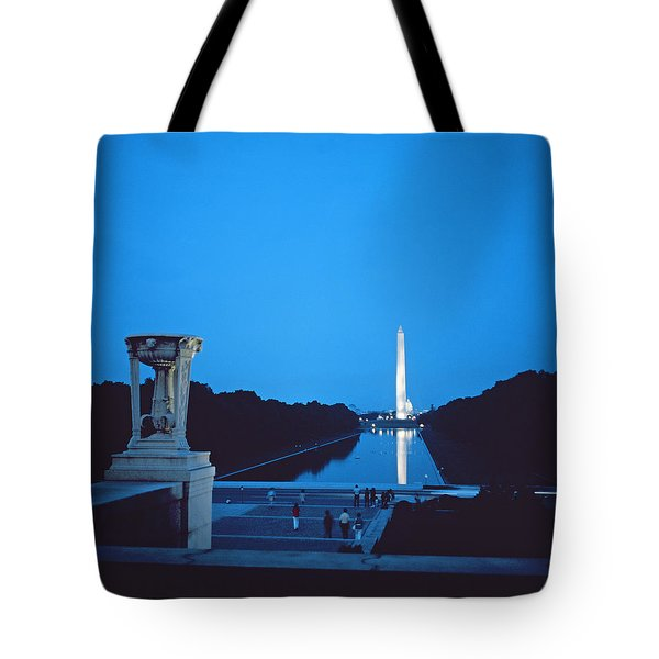 Night View Of The Washington Monument Across The National Mall Tote Bag by American School