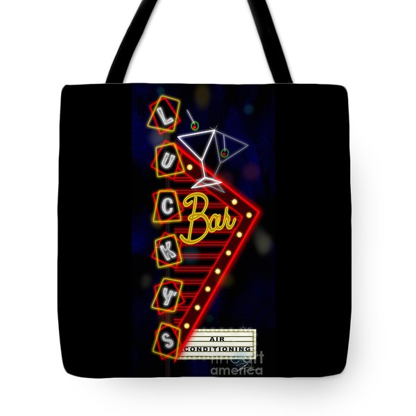 Nightclub Sign Luckys Bar Tote Bag