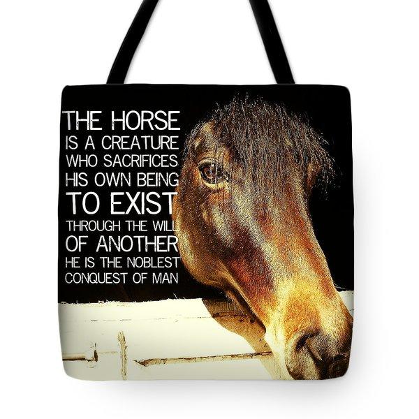 Noble Morgan Stallion Quote Tote Bag