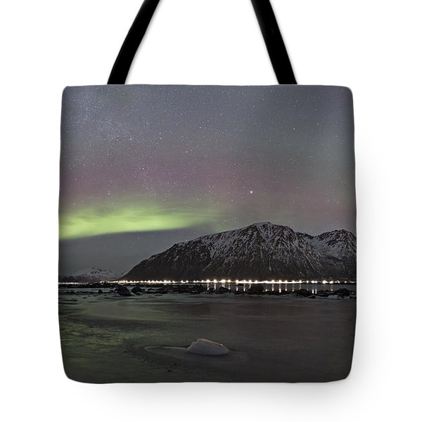 Northern Lights Panoramic Tote Bag