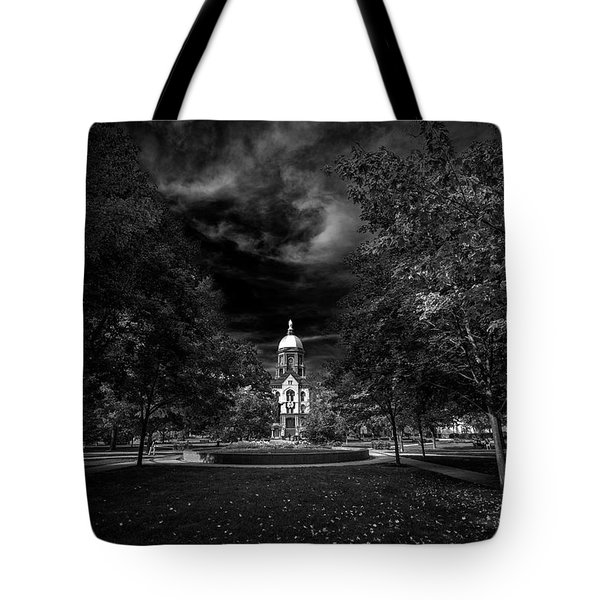 Notre Dame University Black White Tote Bag by David Haskett