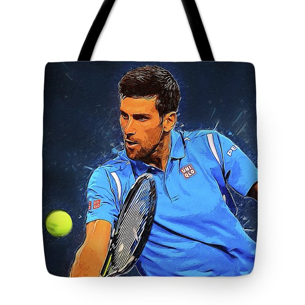 Novak Djokovic Tote Bag by Semih Yurdabak